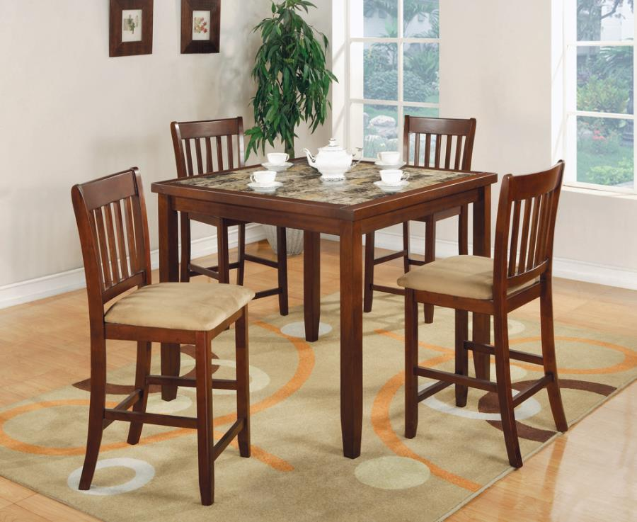 5 PC COUNTER HEIGHT SET (RED BROWN)
