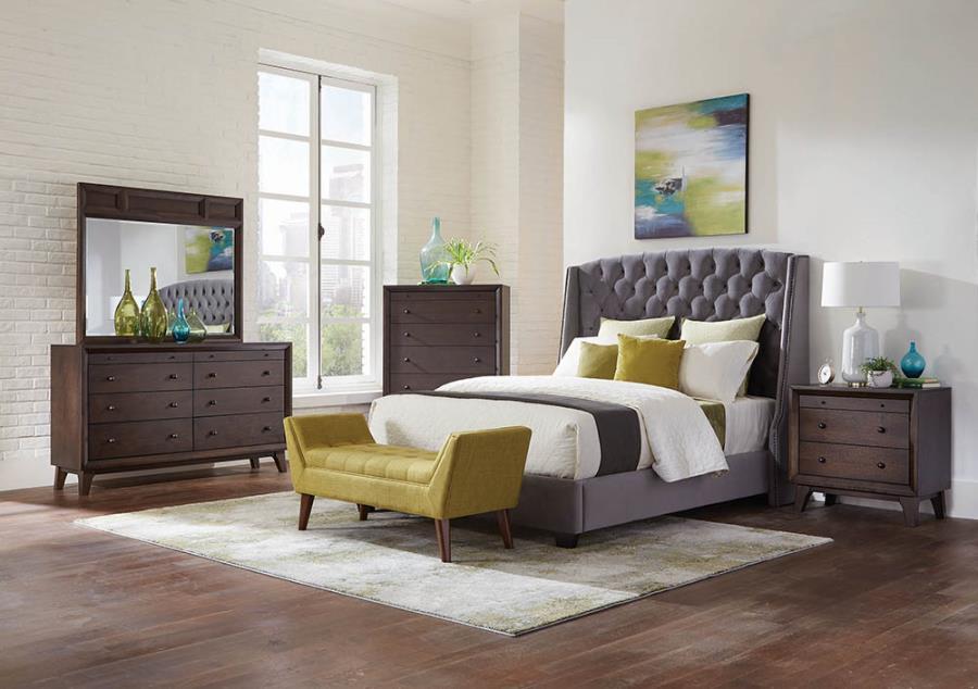 Queen bed (grey velvet)