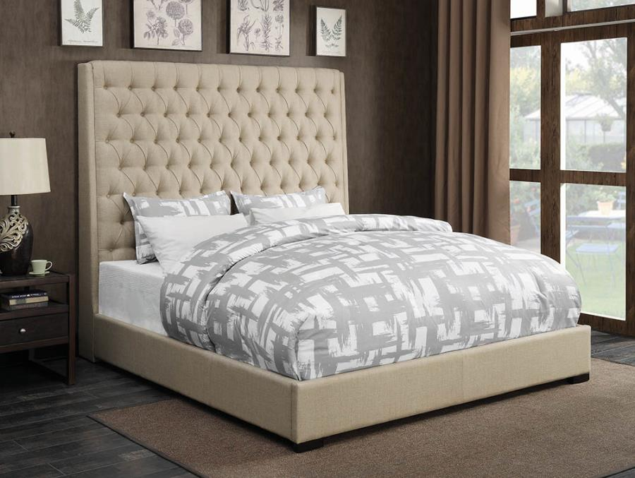 Queen Button Tufted Bed Cream (Queen)