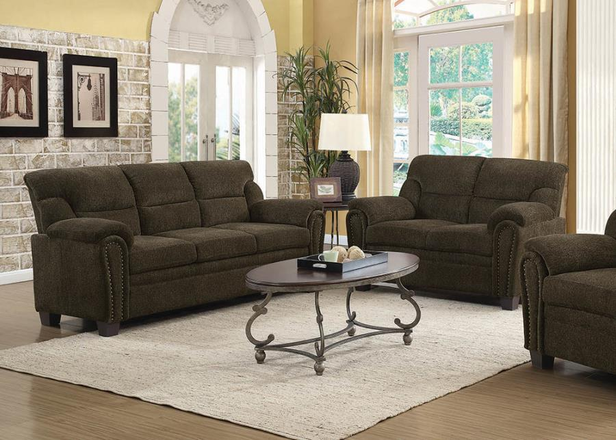 Sofa N Loveseat Upholstered Sofa with Nailhead