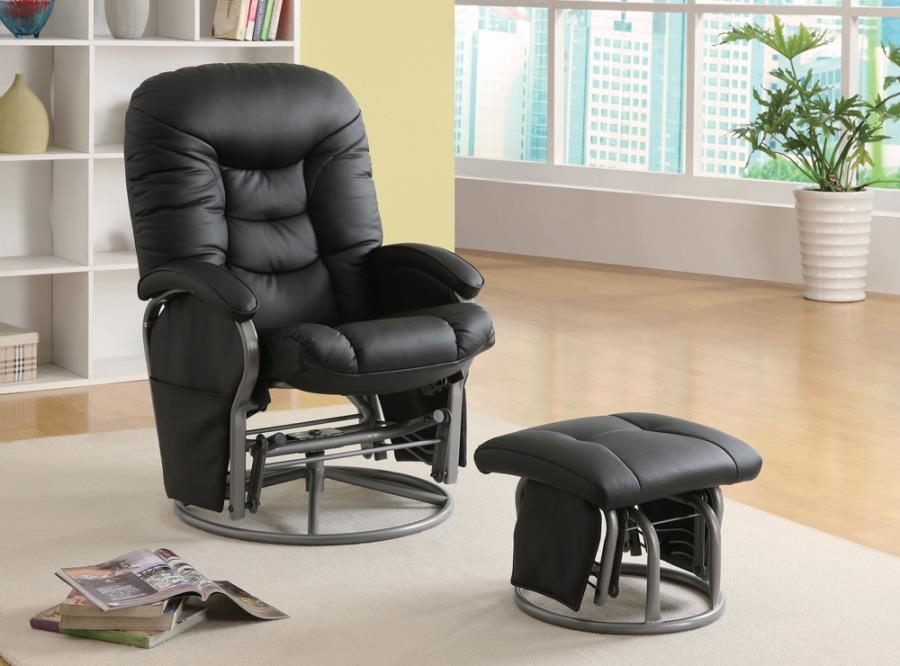 Push-back Glider Recliner with Ottoman