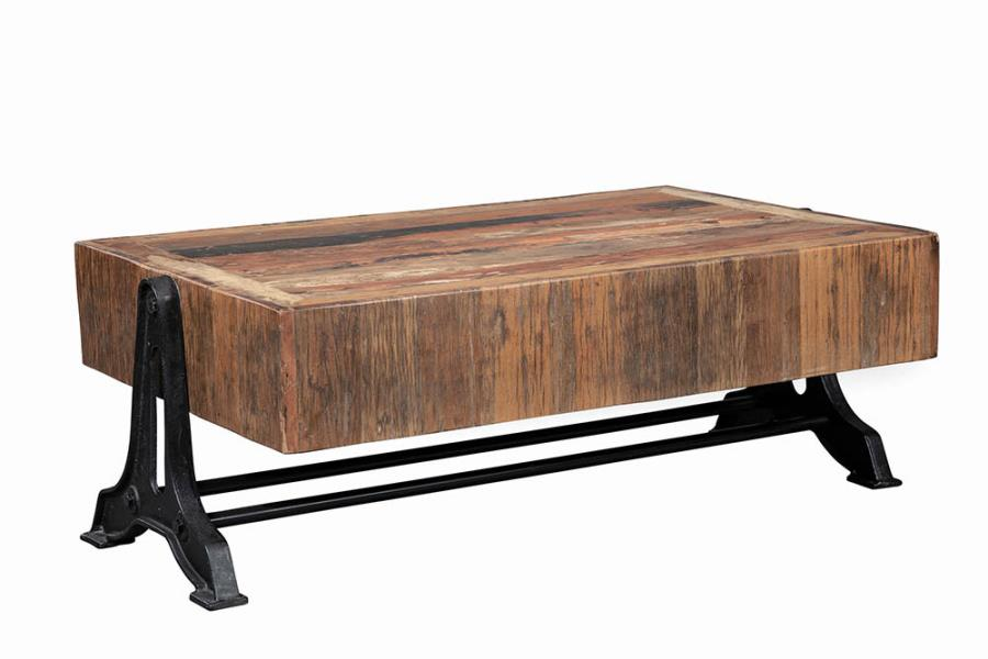 Rectangular Coffee Table Natural and Black