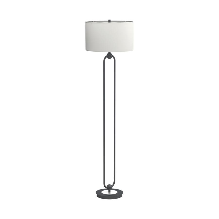 Drum Shade Floor Lamp White and Orb